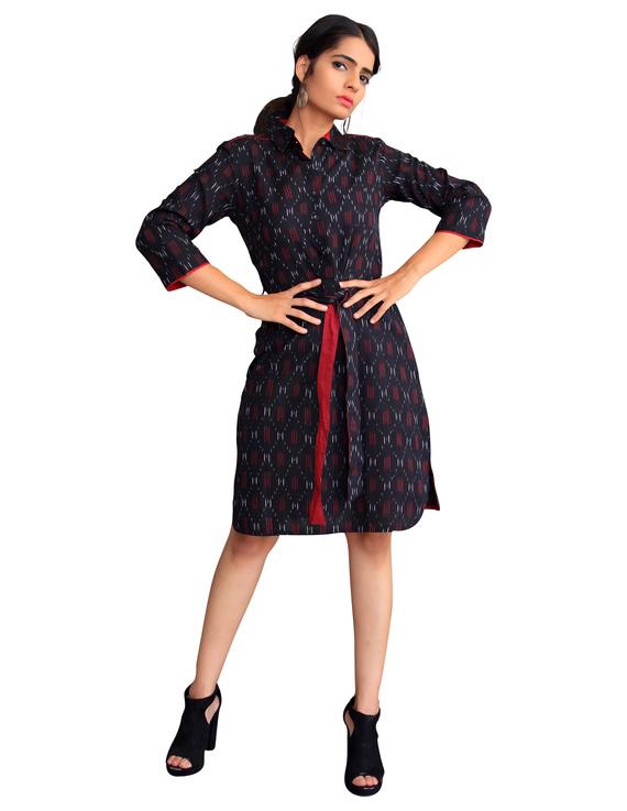 BLACK IKAT SHIRT DRESS : LD410A-XS-1