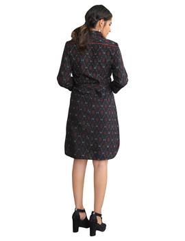 BLACK IKAT SHIRT DRESS : LD410A-XS-2-sm