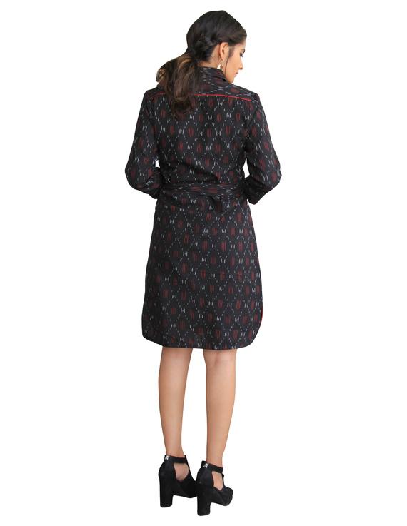 BLACK IKAT SHIRT DRESS : LD410A-XS-2