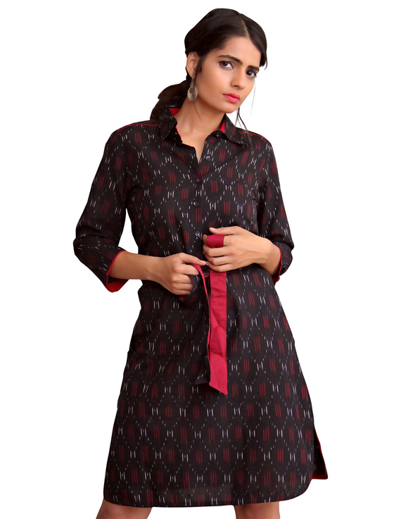 BLACK IKAT SHIRT DRESS : LD410A-LD410A-S