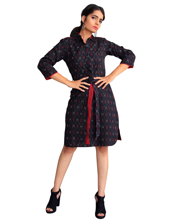 BLACK IKAT SHIRT DRESS : LD410A-M-1
