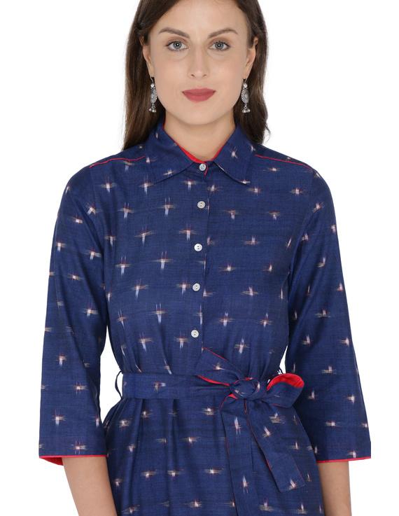 BLUE IKAT SHIRT DRESS : LD410B-XS-1