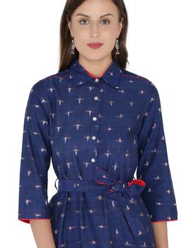 BLUE IKAT SHIRT DRESS : LD410B-M-1-sm