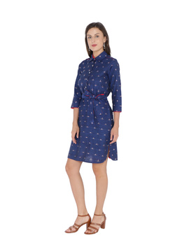 BLUE IKAT SHIRT DRESS : LD410B-LD410B-L-sm