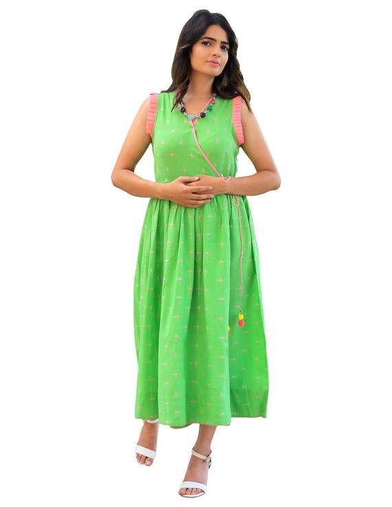 ANGARKHA DRESS IN GREEN IKAT FABRIC : LD420A-LD420A-XS