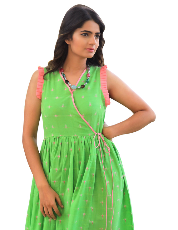 ANGARKHA DRESS IN GREEN IKAT FABRIC : LD420A-XS-1