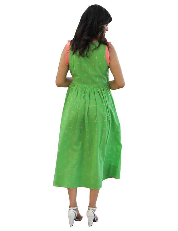 ANGARKHA DRESS IN GREEN IKAT FABRIC : LD420A-XS-2