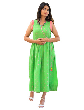 ANGARKHA DRESS IN GREEN IKAT FABRIC : LD420A-LD420A-S-sm