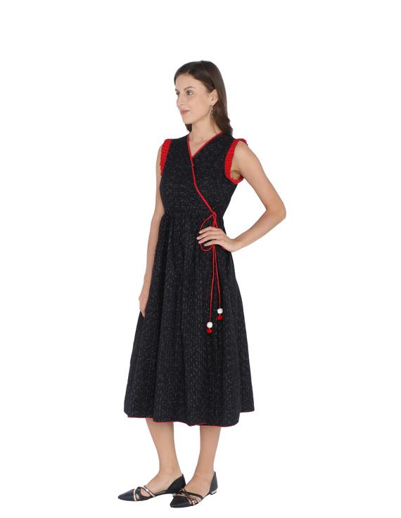 ANGARKHA DRESS IN BLACK IKAT COTTON FABRIC : LD420B-XS-1