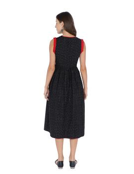 ANGARKHA DRESS IN BLACK IKAT COTTON FABRIC : LD420B-XS-2-sm