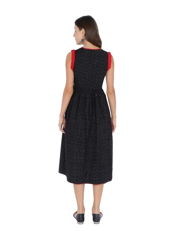 ANGARKHA DRESS IN BLACK IKAT COTTON FABRIC : LD420B-XS-2