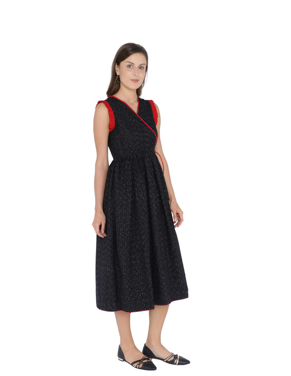ANGARKHA DRESS IN BLACK IKAT COTTON FABRIC : LD420B-LD420B-M