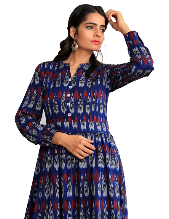 LONG DRESS IN BLUE IKAT COTTON FABRIC WITH TIMELESS FRILLS : LD440A-S-1