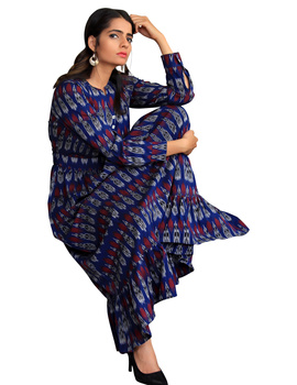 LONG DRESS IN BLUE IKAT COTTON FABRIC WITH TIMELESS FRILLS : LD440A-LD440A-M-sm