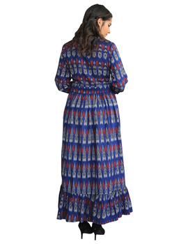 LONG DRESS IN BLUE IKAT COTTON FABRIC WITH TIMELESS FRILLS : LD440A-M-2-sm