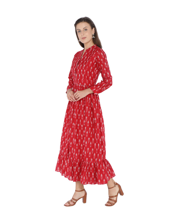 LONG DRESS IN RED SEMI SILK IKAT FABRIC WITH TIMELESS FRILLS : LD440B-S-1