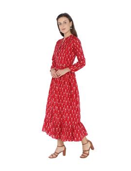 LONG DRESS IN RED SEMI SILK IKAT FABRIC WITH TIMELESS FRILLS : LD440B-L-1-sm
