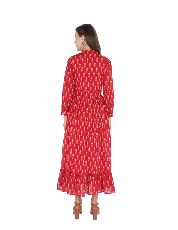 LONG DRESS IN RED SEMI SILK IKAT FABRIC WITH TIMELESS FRILLS : LD440B-XL-2
