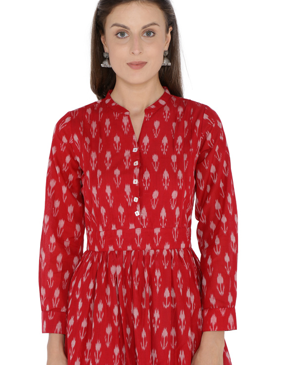 LONG DRESS IN RED SEMI SILK IKAT FABRIC WITH TIMELESS FRILLS : LD440B-LD440B-XXL