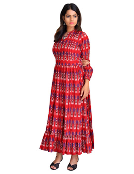 LONG DRESS IN RED IKAT COTTON FABRIC WITH TIMELESS FRILLS : LD440C-LD440C-S-sm