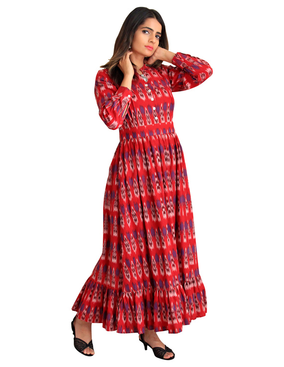 LONG DRESS IN RED IKAT COTTON FABRIC WITH TIMELESS FRILLS : LD440C-S-1