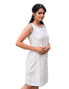 CLASSIC SHORT DRESS IN OFF WHITE KHADI COTTON : LD460B-LD460B-L-sm