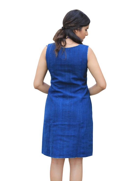CLASSIC SHORT DRESS IN INDIGO BLUE KHADI COTTON : LD460C-S-2