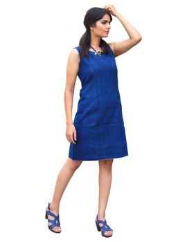CLASSIC SHORT DRESS IN INDIGO BLUE KHADI COTTON : LD460C-LD460C-M-sm