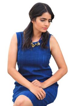 CLASSIC SHORT DRESS IN INDIGO BLUE KHADI COTTON : LD460C-L-1-sm