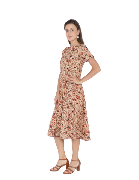 OFFWHITE FLORAL KALAMKARI DRESS WITH A BOAT NECK : LD485B-S-1