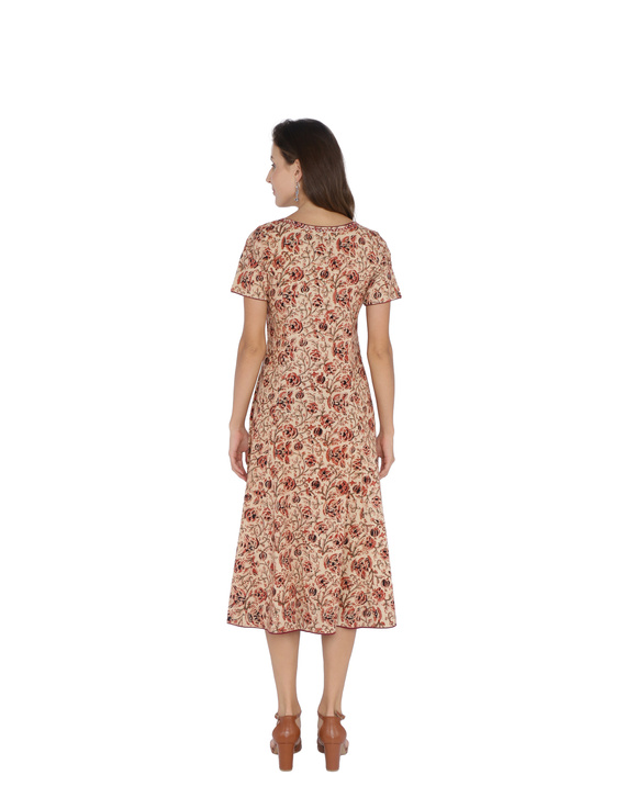 OFFWHITE FLORAL KALAMKARI DRESS WITH A BOAT NECK : LD485B-S-2