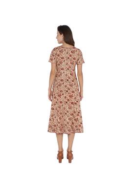 OFFWHITE FLORAL KALAMKARI DRESS WITH A BOAT NECK : LD485B-M-2-sm