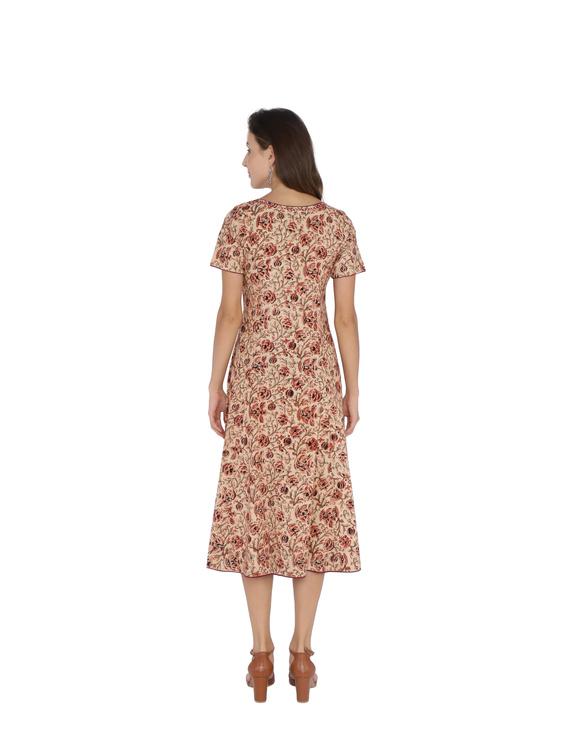 OFFWHITE FLORAL KALAMKARI DRESS WITH A BOAT NECK : LD485B-M-2