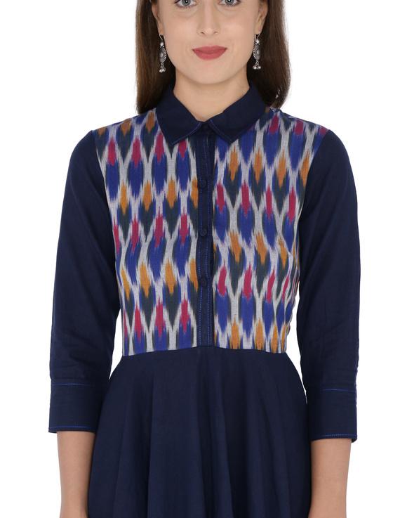 MANGALAGIRI COTTON DRESS IN INDIGO BLUE WITH AN IKAT YOKE : LD500A-S-1