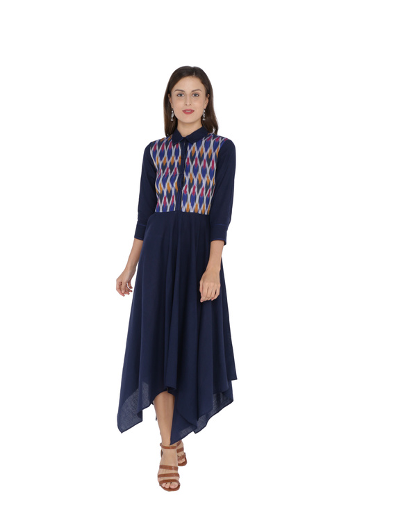 MANGALAGIRI COTTON DRESS IN INDIGO BLUE WITH AN IKAT YOKE : LD500A-LD500A-M