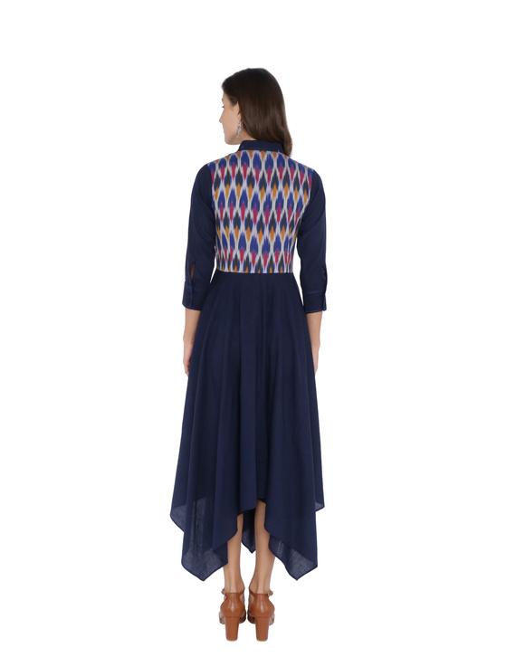 MANGALAGIRI COTTON DRESS IN INDIGO BLUE WITH AN IKAT YOKE : LD500A-L-2