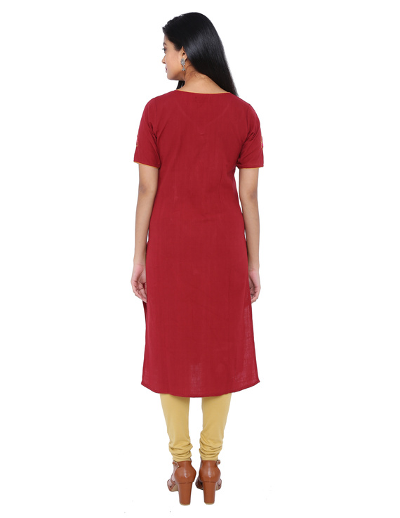 RED STRAIGHT KURTA WITH HAND EMBROIDERY: LK161B-S-2