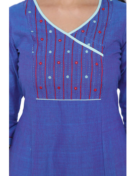 BLUE FLARED KURTA WITH HAND EMBROIDERY: LK171B-S-1-sm