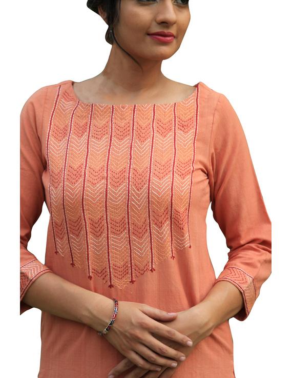 Peach kurta in handloom cotton with lambani embroidered yoke: LK181B-S-1