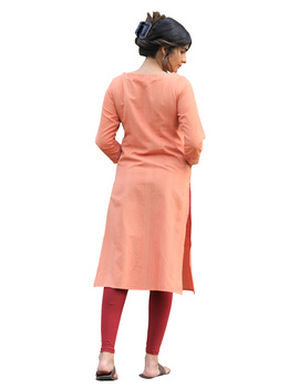 Peach kurta in handloom cotton with lambani embroidered yoke: LK181B-S-2-sm