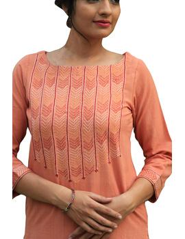 Peach kurta in handloom cotton with lambani embroidered yoke: LK181B-L-1-sm