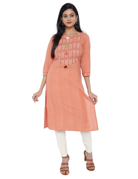 Peach kurta in handloom cotton with lambani embroidered yoke: LK181B-LK181B-XL-sm