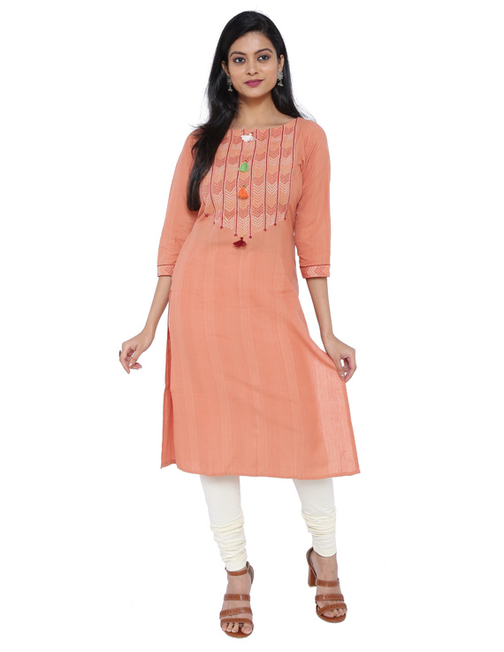Peach kurta in handloom cotton with lambani embroidered yoke: LK181B-LK181B-XL