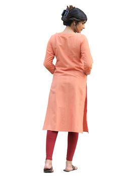 Peach kurta in handloom cotton with lambani embroidered yoke: LK181B-XL-2-sm