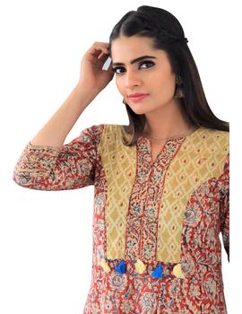 Red kalamkari kurta with matching narrow pants: LK230D-LK230D-XS-sm