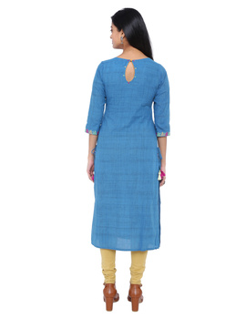 BLUE MANGALAGIRI STRAIGHT KURTA WITH SIDE DETAIL DORI : LK290A-M-2-sm