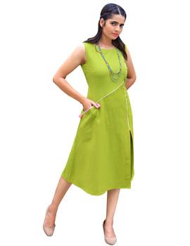 GREEN LINEN PRINCESS SLIT DRESS : LK310A-LK310A-M-sm
