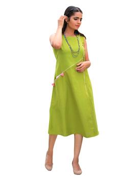 GREEN LINEN PRINCESS SLIT DRESS : LK310A-M-1-sm