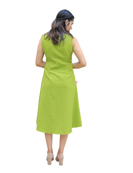 GREEN LINEN PRINCESS SLIT DRESS : LK310A-M-2-sm