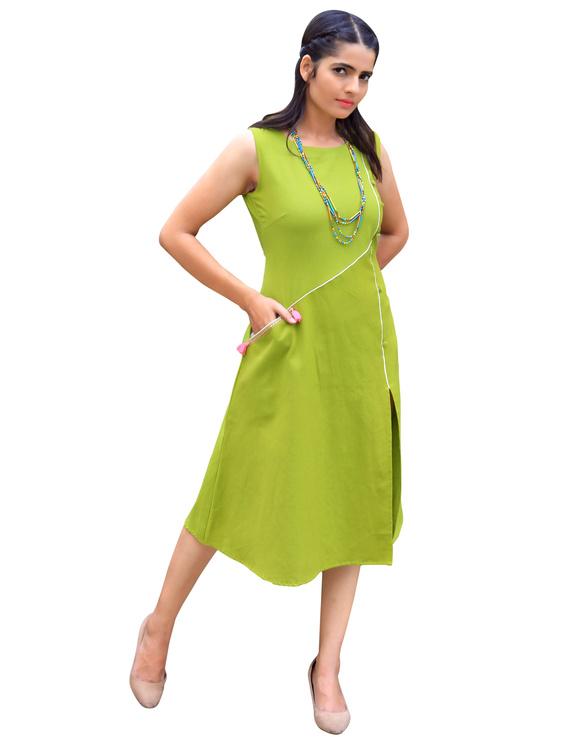 GREEN LINEN PRINCESS SLIT DRESS : LK310A-LK310A-L